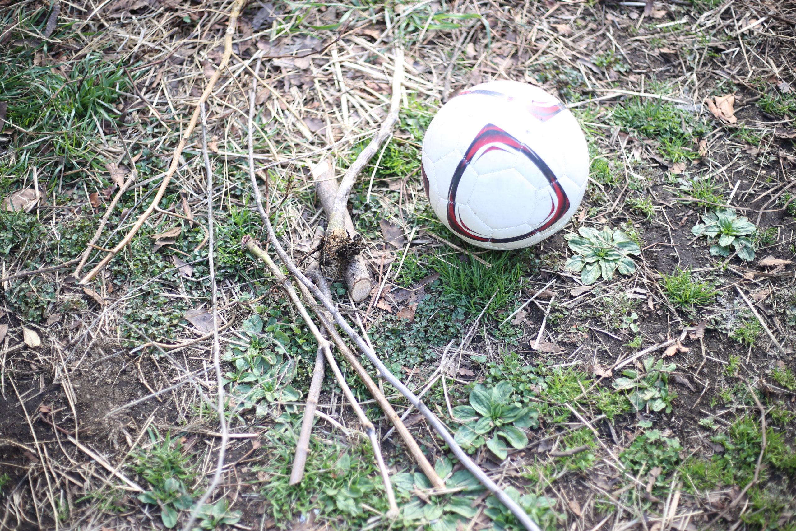 公園から転がり出るボールとそれを追いかける子供の図